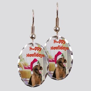 2-airedale card Earring Oval Charm