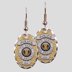 Police Badge Earring Oval Charm