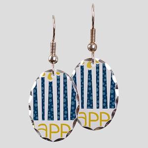 Happy Hanukkah Earring Oval Charm