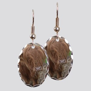 Young Highland Cow Earring Oval Charm