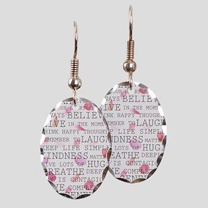 Romantic Rose Petals inspirational words Earring