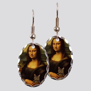 Monalisa with cat Earring Oval Charm