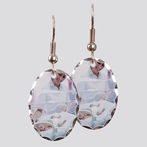 Nurse and premature baby Earring Oval Charm