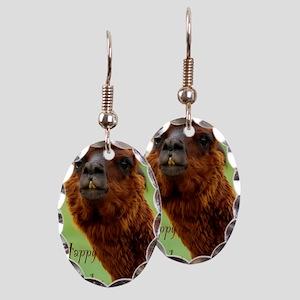 funny alpaca birthday Earring Oval Charm