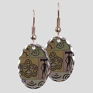 Taino Petroglyphs Earring Oval Charm