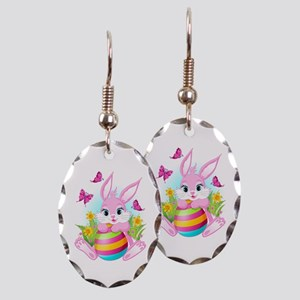 Pink Easter Bunny Earring Oval Charm