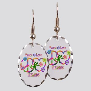 Peace Love Lizards Earring Oval Charm