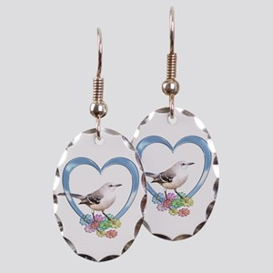 Mockingbird in Heart Earring Oval Charm