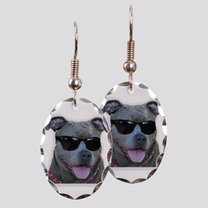 Pitbull in sunglasses Earring Oval Charm