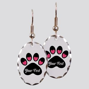 Personalizable Paw Print Pink Earring