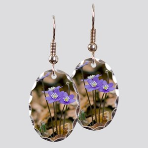 Liverleaf (Hepatica nobilis) Earring Oval Charm
