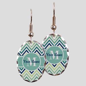 Aqua and Blue Chevron Custom Mo Earring Oval Charm