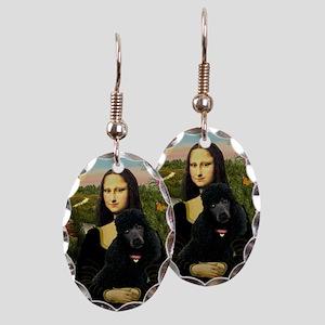 Mona / Std Poodle (bl) Earring Oval Charm