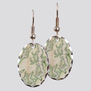 Vintage Map of The Puget Sound  Earring Oval Charm