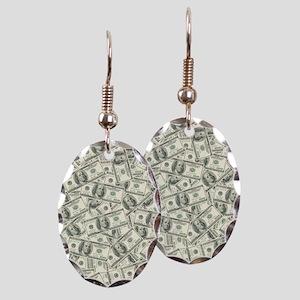 100 Dollar Bill Money Pattern Earring Oval Charm