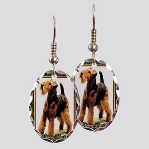 Airedale Terrier Dog Christmas Earring Oval Charm