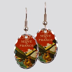 Air Service in France Vintage P Earring Oval Charm