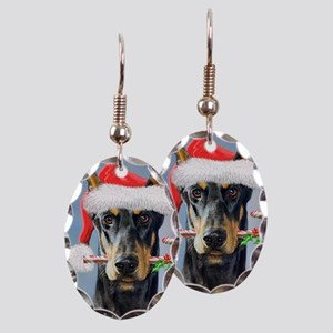 Doberman Christmas Earring Oval Charm