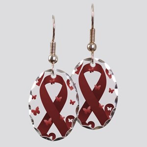 Red Awareness Ribbon Earring Oval Charm