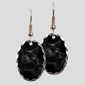 Black Cat Earring Oval Charm