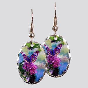Colorful Abstract Butterfly Earring Oval Charm
