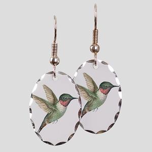 Hummingbird Earring Oval Charm