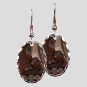 (16) Orang Mother and Child 737 Earring Oval Charm