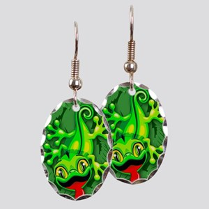 Gecko Lizard Baby Cartoon Earring Oval Charm