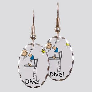 Boy I Dive Stick Figure Earring Oval Charm