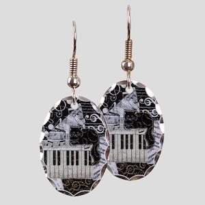 keyboard-sitting-cat-ornament Earring Oval Charm
