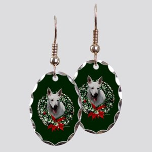 White Shepherd Earring Oval Charm