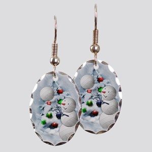 Volleyball Snowman xmas Earring Oval Charm