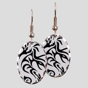 Tribal Seahorse Earring Oval Charm