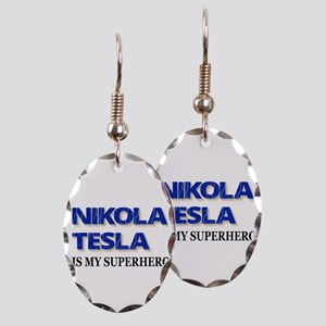 Nikola Tesla Is My Superhero Earring Oval Charm