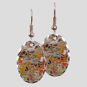 LUXURIOUS ANTIQUE JAPANESE KIMO Earring Oval Charm