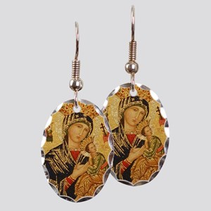 Our Lady of Perpetual Help Earring Oval Charm