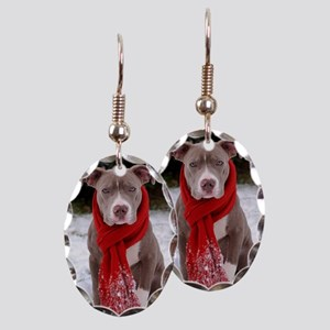 Holiday Pit Bull Earring Oval Charm