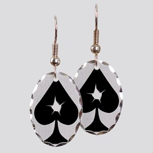 Playing Card Bullet Hole Earring Oval Charm