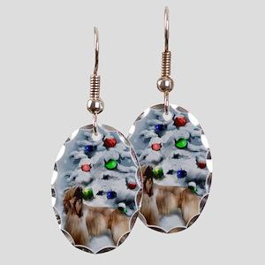 Afghan Hound Christmas Earring Oval Charm