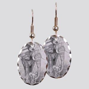 African Elephants Earring Oval Charm