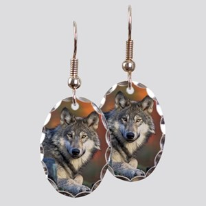 Wolf Wolves Lovers Earring Oval Charm