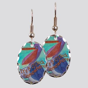 Party Pelican Earring Oval Charm