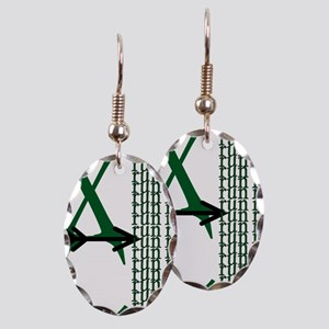XC Run Green Black Earring Oval Charm