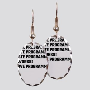 I Love Programming Earring Oval Charm