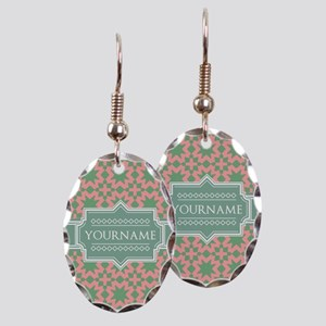 Pink Apple Green Pattern Perso Earring Oval Charm