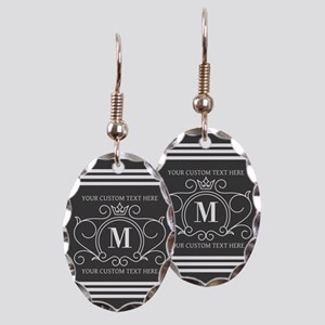 Gray Victorian Stripes Personal Earring Oval Charm