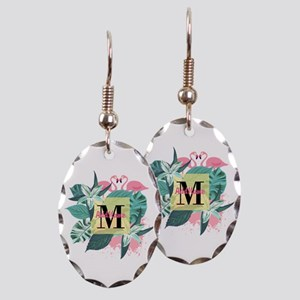 Personalized Flamingo Monogramm Earring Oval Charm