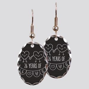 26th Anniversary Gift Chalkboar Earring Oval Charm
