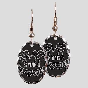 33rd Anniversary Gift Chalkboar Earring Oval Charm