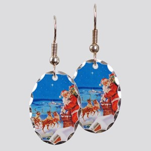 Santa and His Reindeer Up On a Earring Oval Charm
